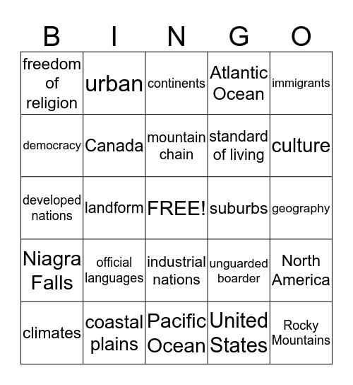 Two Nations of North America Bingo Card