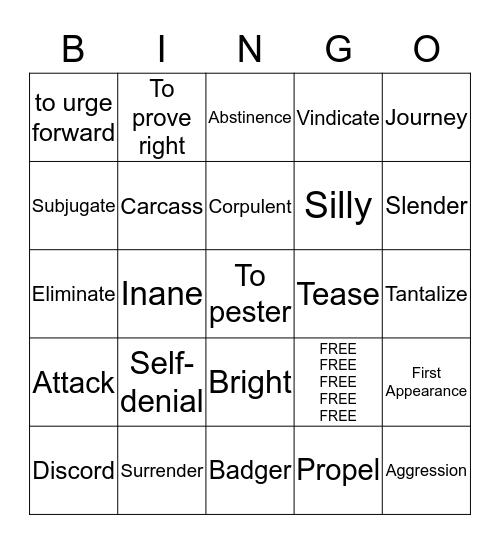 Vocabulary 9.7 Review Bingo Card