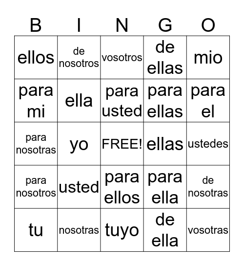 Pronombres / Pronombres Posesivos Bingo Card