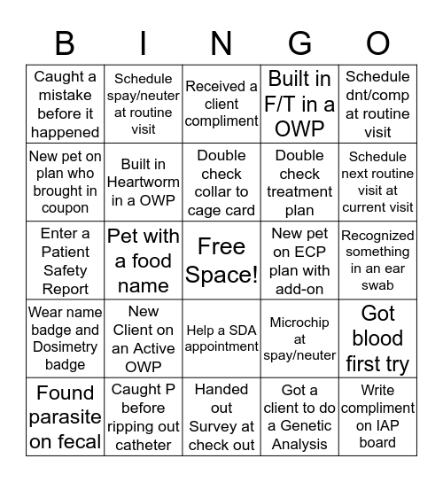 IAP Bingo Card