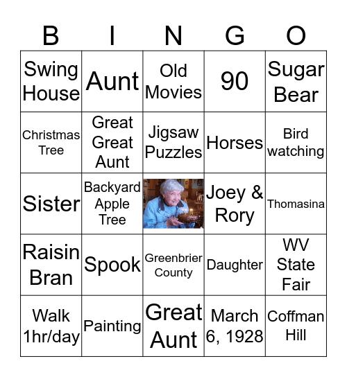 Betty's 90th Bingo Card