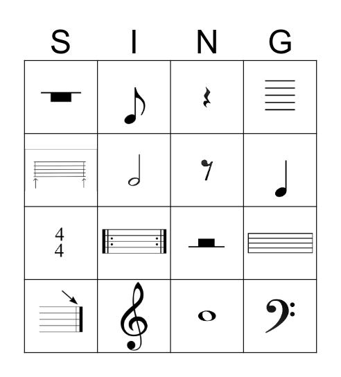 Music Symbol Bingo Card