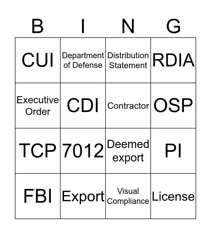 Secure Research Bingo Card