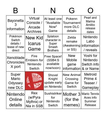 Nintendo Direct 3/8/18 Bingo Card