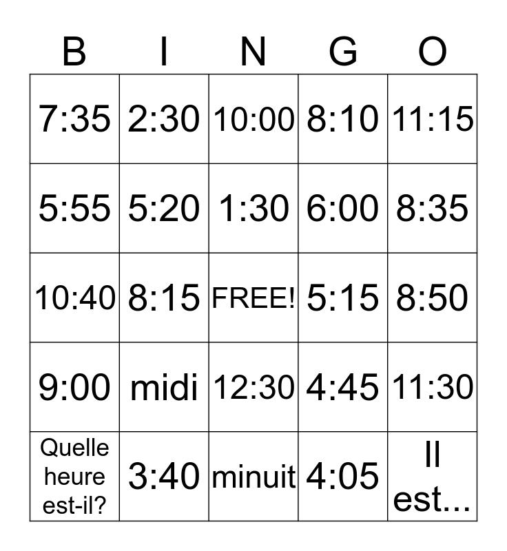 L'heure Bingo Card