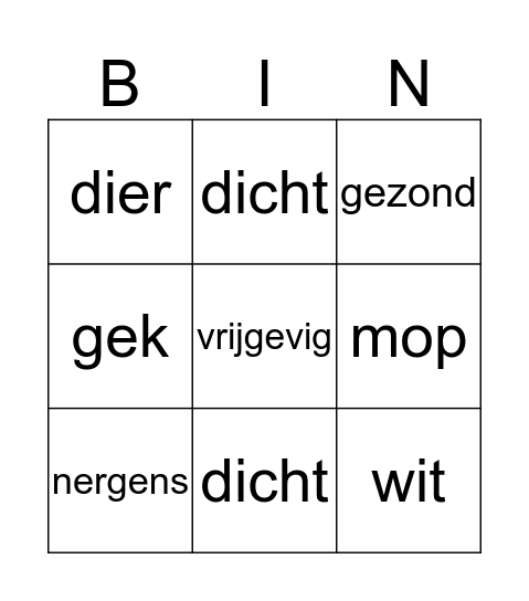 Tegenstellingen en synoniemen Bingo Card