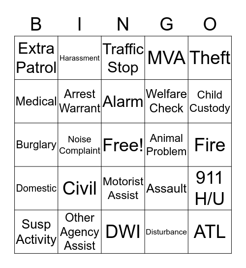 Dispatcher Bingo  Bingo Card