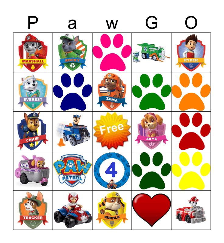 Paw Patrol  Bingo Card