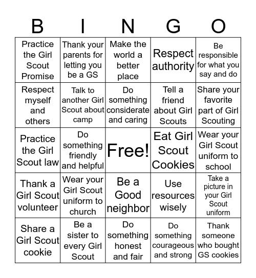 Girl Scout Week Bingo Card