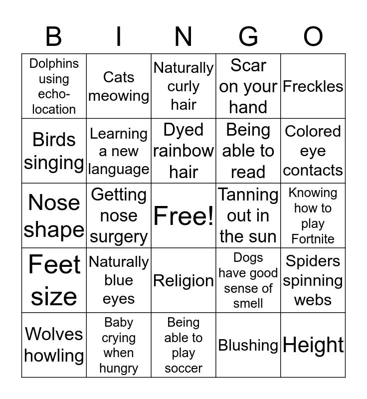 Traits Bingo Card