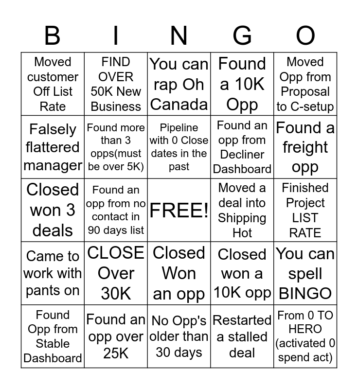 TAKEN CARE OF BIZNESS Bingo Card