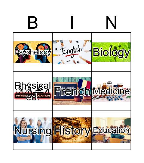 Academic subjects Bingo Card