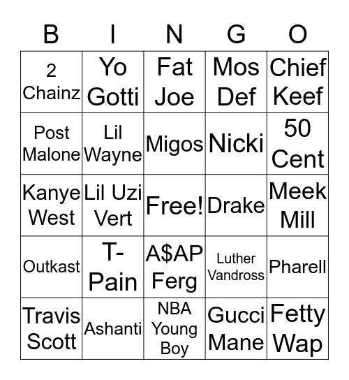 Trap Bingo Card