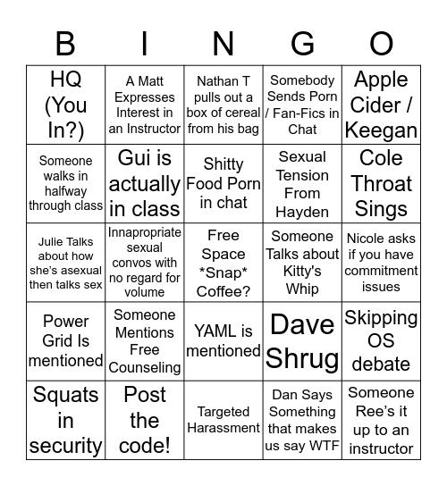 IT Bingo Card