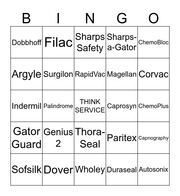 "COVIDIEN ""Think Service"" Bingo Card"