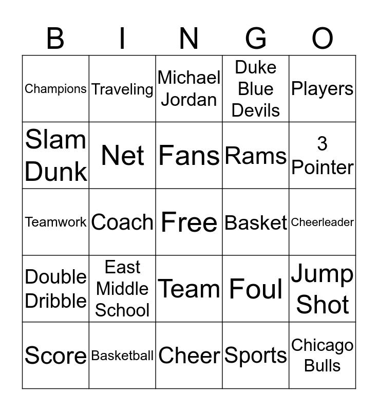 Basketball Bingo Card