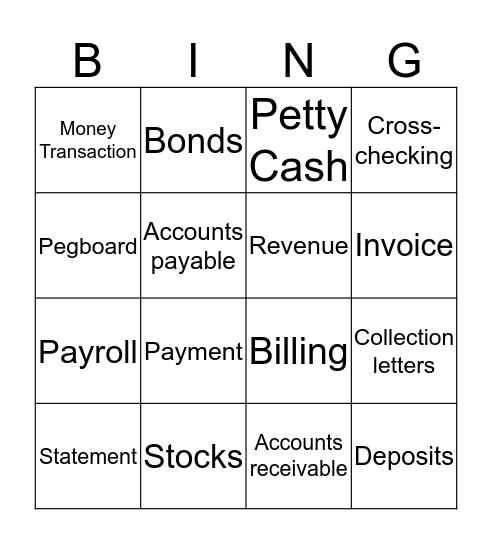 Finances  Bingo Card