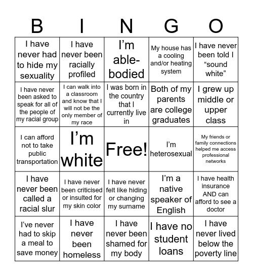 Check Your Privilege Bingo Card