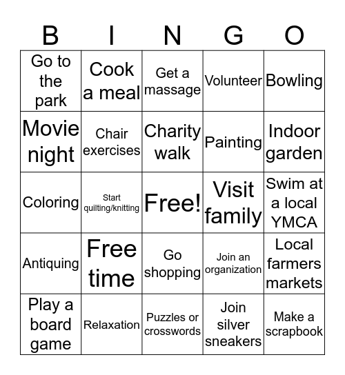 Leisure Bingo Card