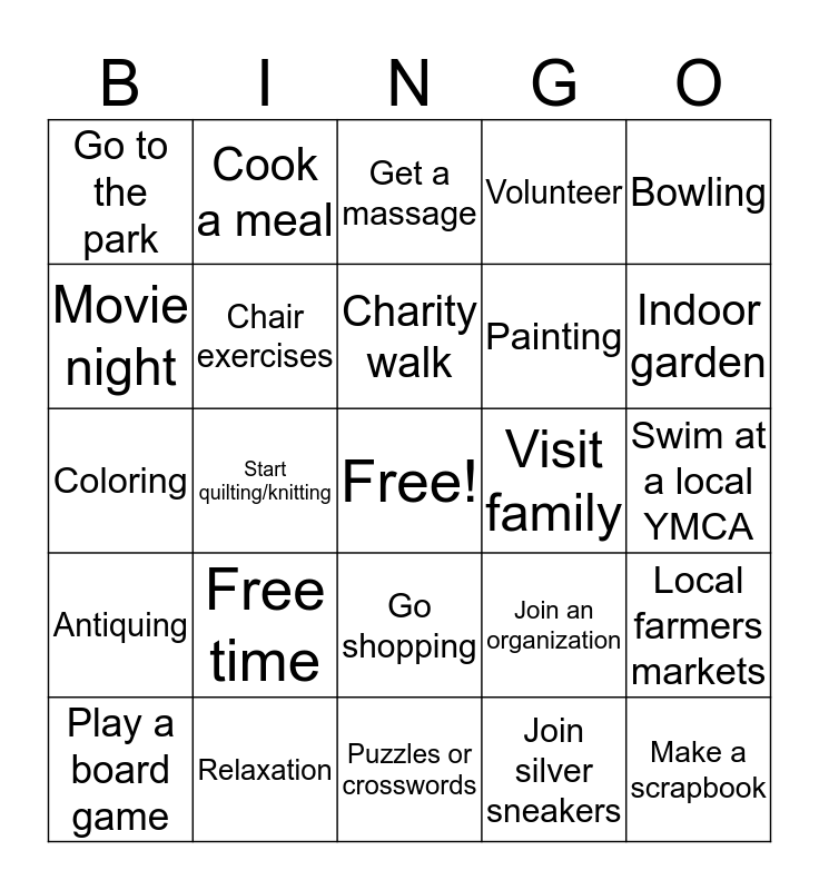 Leisure Bingo Card