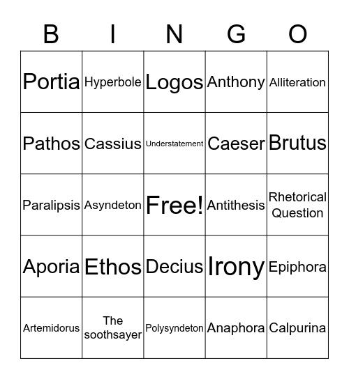 World Literature Bingo Card