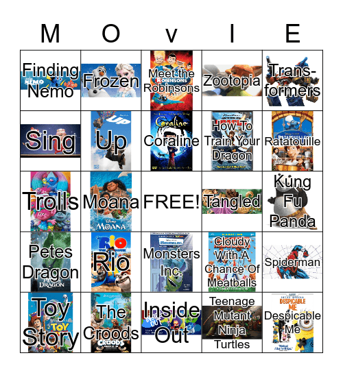 Movies Bingo Card