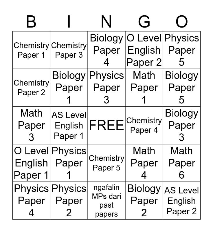 exam week (a. k. a. pembodohan massal) Bingo Card