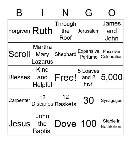 Bible Class BINGO Card