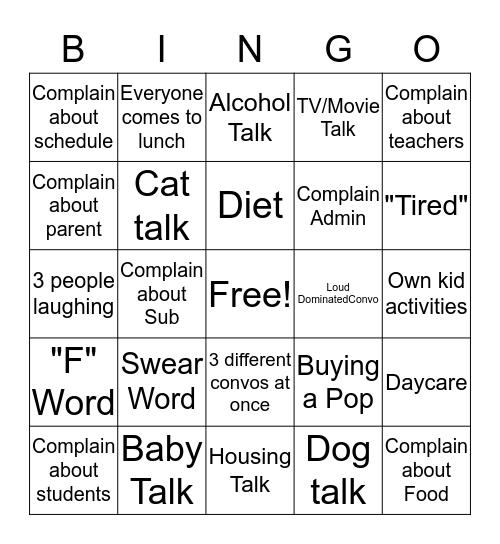Lunch Bingo Card