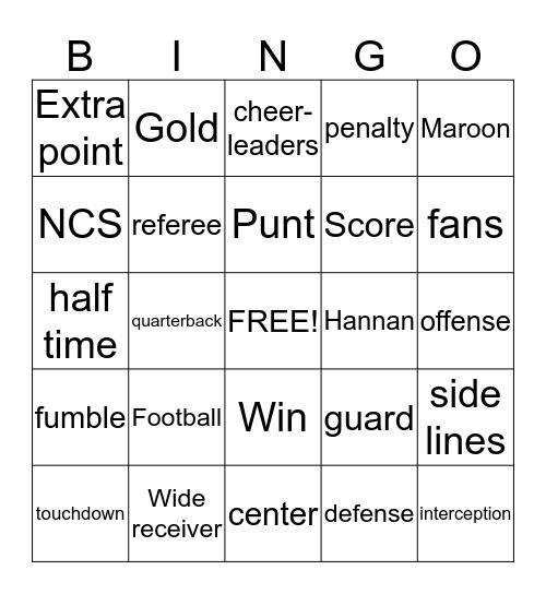 HOMECOMING Bingo Card