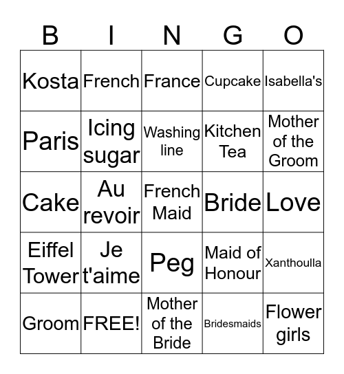 Xanthoulla Kitchen Tea Bingo Card