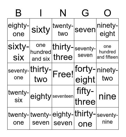 Number Words 1-120 Bingo Card