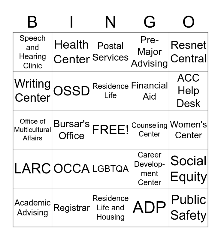 Referral Resources BINGO Card