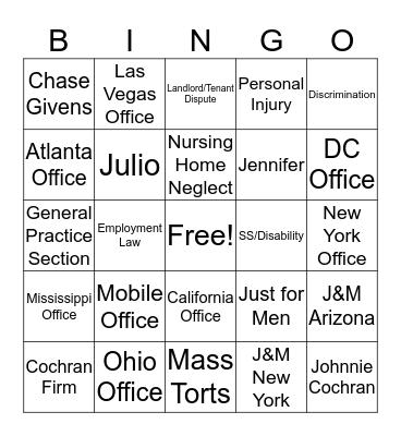US Legal Bingo Card