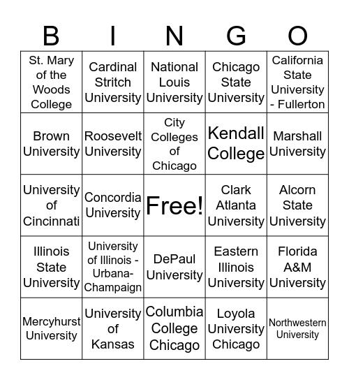 2018 College Week Bingo Card
