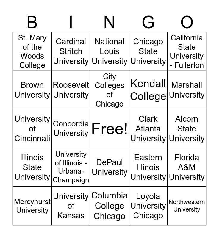2018 College Week Bingo Card
