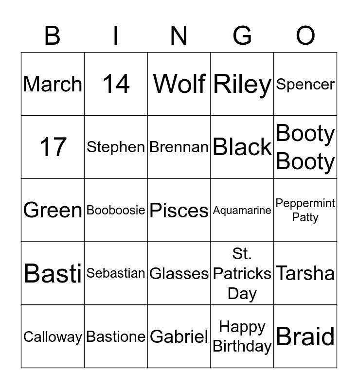 Sebastian's Birthday Bingo Card