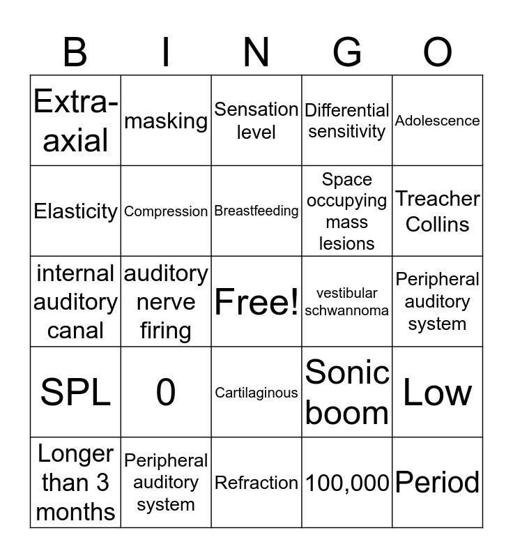 Hearing Science and Disorders Bingo Card