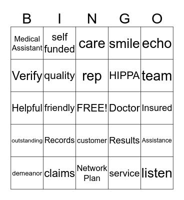 Customer Service !!!! Bingo Card