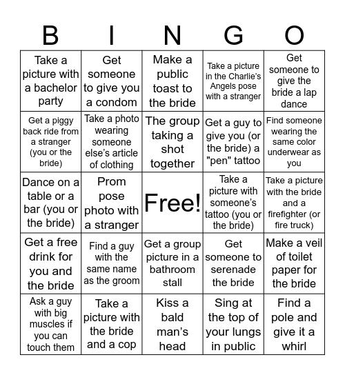 Juli's Bachelorette Bingo Card