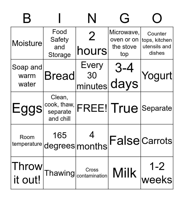 Food Safety and Storage Bingo Card