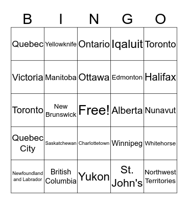 Capital Cities and Provinces of Canada Bingo Card