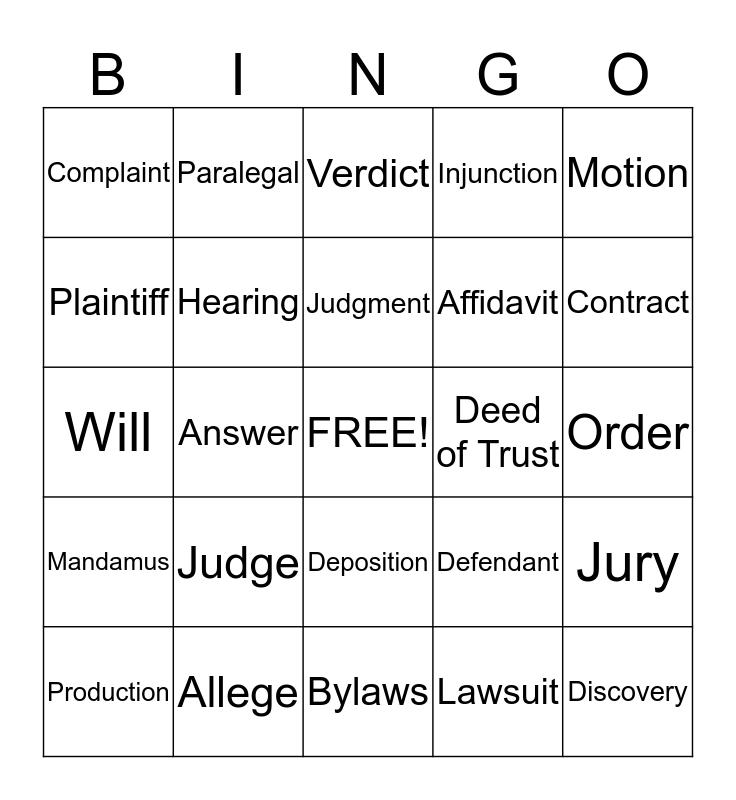 Baker Bingo Card