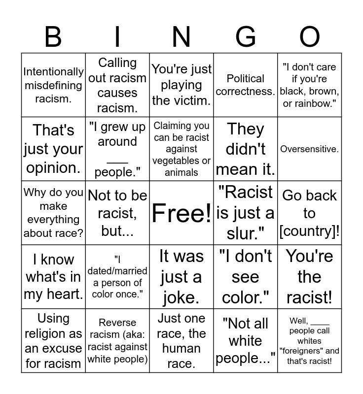 Racism bingo Card