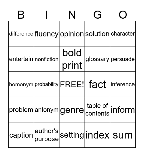 Word Wall Bingo Card