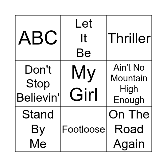What's That song? Bingo Card