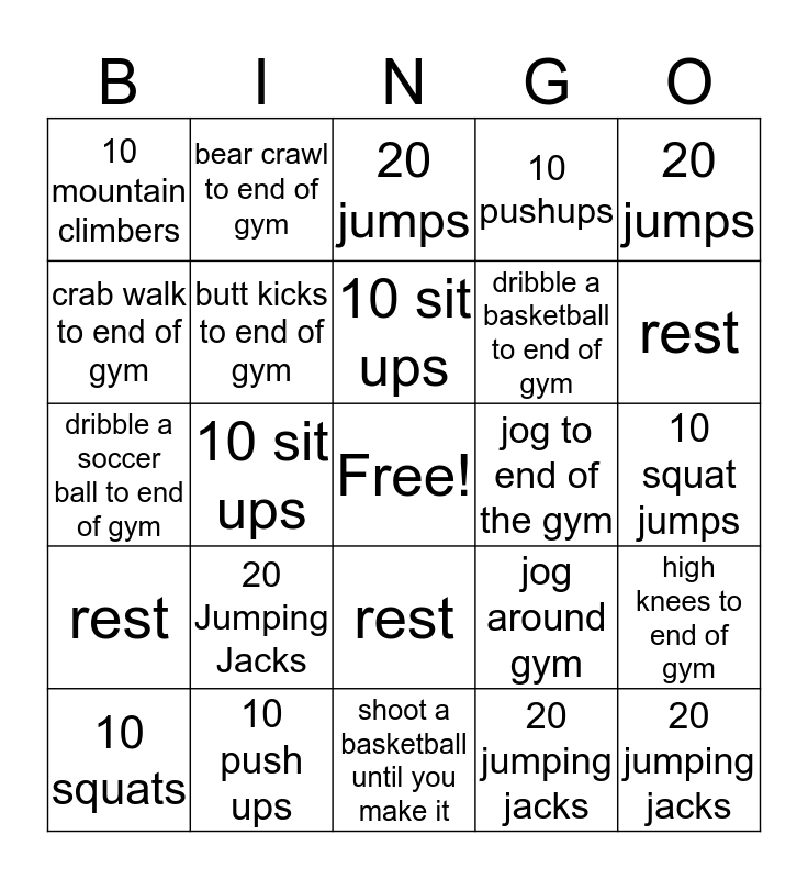 Phys. Ed. Bingo Card