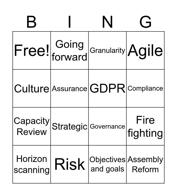 Governance Bingo Card