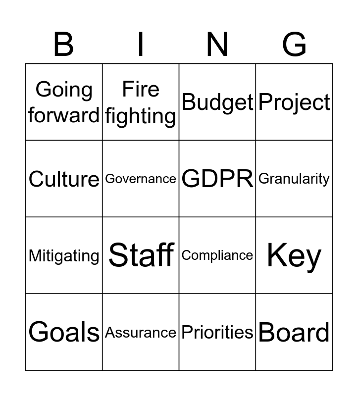 Governance Bingo! Bingo Card