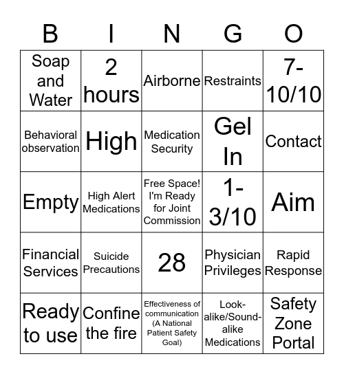 Joint Commission Readiness Bingo Card